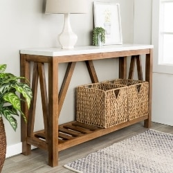 Cheap Trditional Furniture Ideas - A-Frame Rustic Walnut & Faux Marble Console Table (1)
