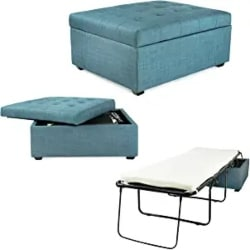 Cheap Unique Furniture Ideas - Convertible Ottoman with Fold Out Hideaway Guest Bed