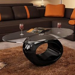 unique furniture - oval glass top with hollow black base