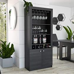 "unique furniture - TUHOME Montenegro 69"" Bar Cabinet with Wine Rack"