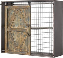unique furniture - wood and metal sliding barn door storage cabinet