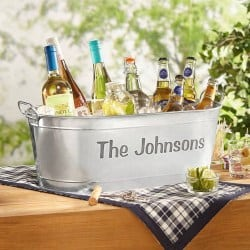 Best Personalized Housewarming Gifts - Personalized Galvanized Family Name Beverage Tub or Tub with Stand