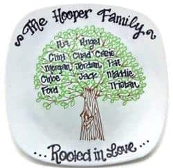 Unique but Practical Housewarming gifts - Hand Painted Personalized Family Tree Plate