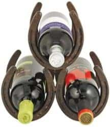 Unique but Practical Housewarming gifts - Horseshoe Countertop 3 Metal Rack and Wine Bottle Holder