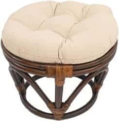 18-Inch Bali Rattan Papasan Footstool with Cushion