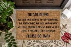 funny housewarming gifts - No Soliciting Please Go Away Funny Doormat
