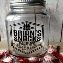 Personalized Gift for Him Glass Snack Jar