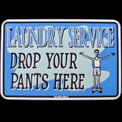 housewarming gifts for men - Laundry Room Tin Sign DROP YOUR PANTS HERE