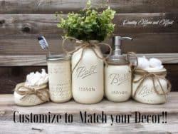 housewarming gifts for men - Mason Jar Bathroom Set