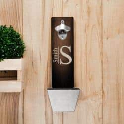 housewarming gifts for men - Personalized Monogrammed Wall Mounted Bottle Opener