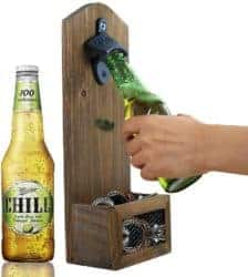 housewarming gifts for men - Vintage Wall Mounted Wooden Bottle Opener with Cap Catcher