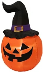 Inflatable Pumpkin with Witch Hat