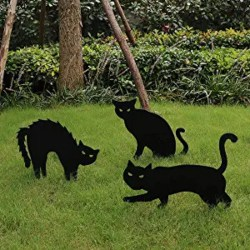 Black Cat Silhouette Yard Signs