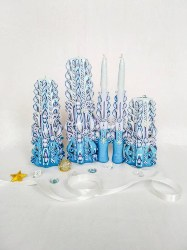 Blue Christmas Carved Candle Set (1)