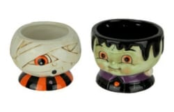 Vintage Halloween Decorations - Ceramic Mummy and Monster Halloween Decor Snack Dish