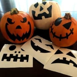 Jack-o-lantern face decals