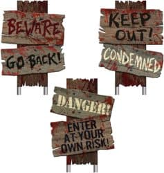 Outdoor Halloween party decorations - Beware Signs Yard Stakes