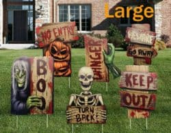 Outdoor Halloween yard decorations - Track-or-Treat Corrugate Yard Stake Signs