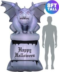 Outdoor inflatable Halloween decorations - Stone Gargoyle on Pedestal
