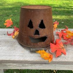 Outdoor vintage outdoor Halloween decorations - Metal Jack O Lantern Bucket