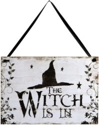 Outdoor vintage outdoor Halloween decorations - Plaque Board for Haunted House - Witch is in