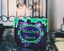 Vintage Halloween Decorations - Witchy Cauldron Makeup Holder