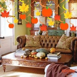 ceiling decorations for fall - Maple and Pumkin Cutout Swirls