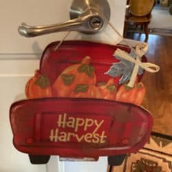 door decorations for fall - Happy Harvest Door Handle Sign