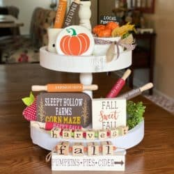 kitchen decorations for fall - Fall Tiered Tray Decor