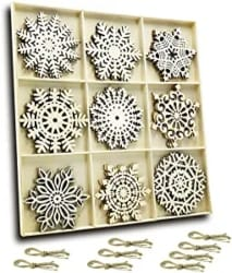 Hanging Wood Snowflakes