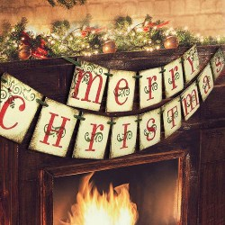 vintage christmas decorations - Merry Christmas Banner (1)
