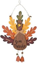 Burlap Wooden Turkey Sign