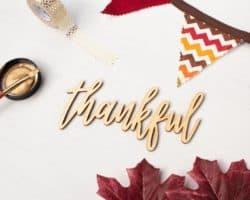 """Thankful"" Script Word Cutout"